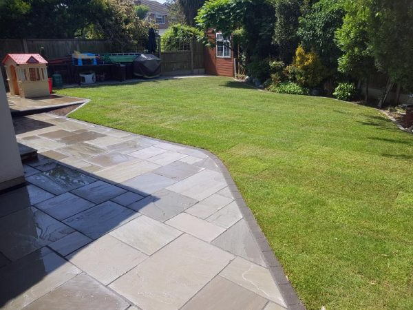 Grass Landscaping and Patio Project
